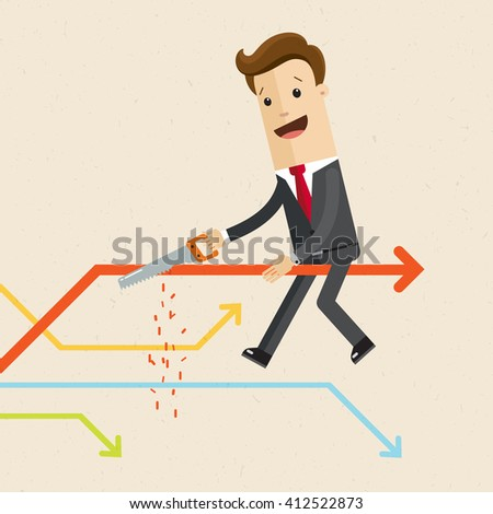 Salesman is cutting a line of chart on which he is sitting on. A man in a suit sits on a line of chart with a hacksaw  in his hand. Flat style illustration, vector, EPS10.