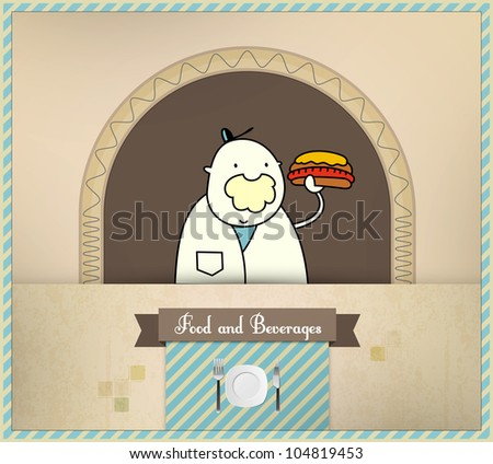Salesman Serving Fresh Hot Dog | Food and Beverages Series | Layered Eps10 Vector Graphic