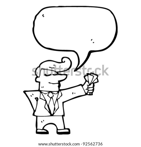 salesman with cash and speech bubble