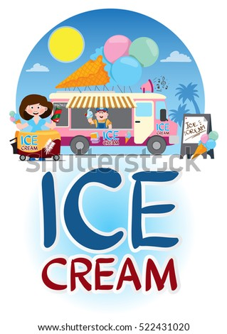 Saleswoman ice cream. Vending trailer with sweets and drinks.