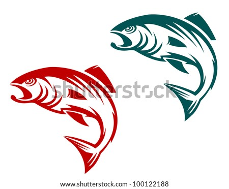 Salmon fish in two variations for fishing sports mascot, such  a logo. Jpeg version also available in gallery - stock vector