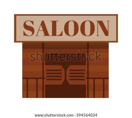Saloon antique cowboy building and saloon texas traditional house. Saloon western bar. Conceptual cartoon western saloon representing mix of texas and mexican cultures with doors american vector. - stock vector