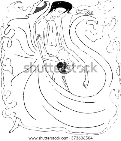 Salsa sketch dancing people - stock vector