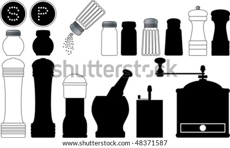 Salt and pepper collection - stock vector