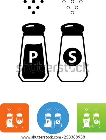 Salt and pepper. Editable vector icons for video, mobile apps, Web sites and print projects.  - stock vector