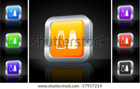 Salt and Pepper Icon on 3D Button with Metallic Rim Original Illustration