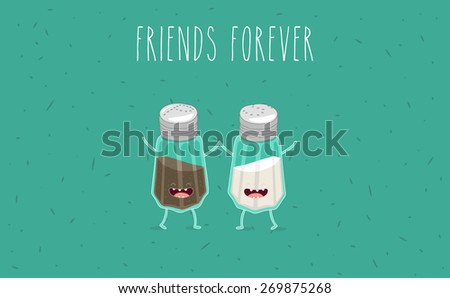 Salt and pepper illustration. Vector cartoon. Friends forever. Comic characters. - stock vector