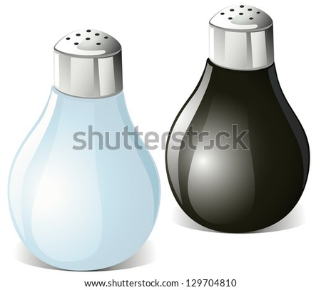 salt and pepper shakers isolated on white background - stock vector