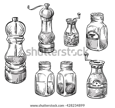 Salt Pepper Shakers Spice Containers Set Stock Vector ...