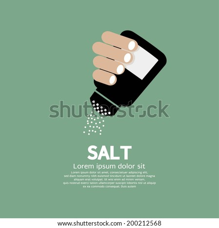Salt Bottle In Hand Vector Illustration - stock vector