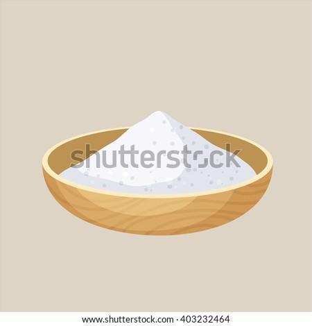 Salt bowl. Pile of salt in a wooden bowl. Baking and cooking ingredient. Cartoon vector illustration of salt. Food seasoning. Kitchen utensils salt bowl - stock vector