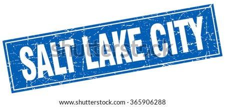 Salt Lake City blue square grunge vintage isolated stamp - stock vector