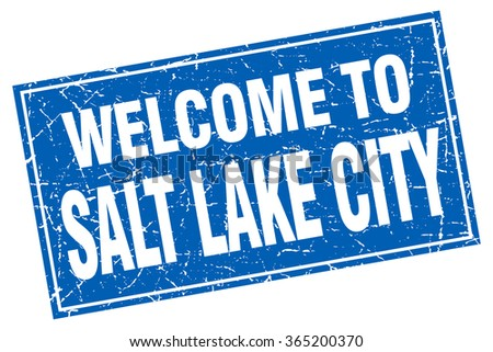 Salt Lake City blue square grunge welcome to stamp - stock vector