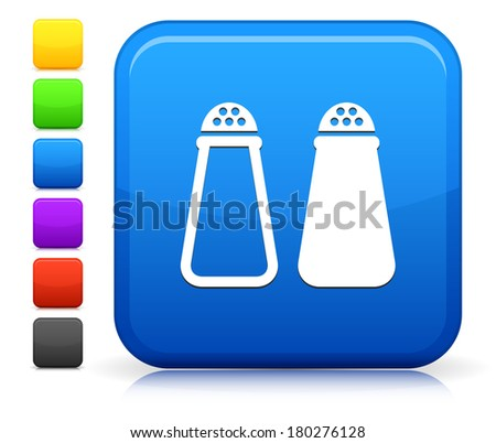 Salt & Pepper Icon on Square Internet Button Collection - stock vector