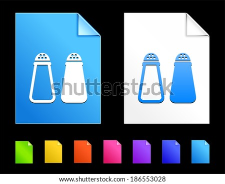 Salt pepper Icons on Colorful Paper Document Collection - stock vector