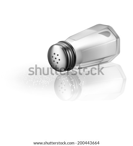 Salt shaker isolated on white background. Vector illustration. Realistic  - stock vector