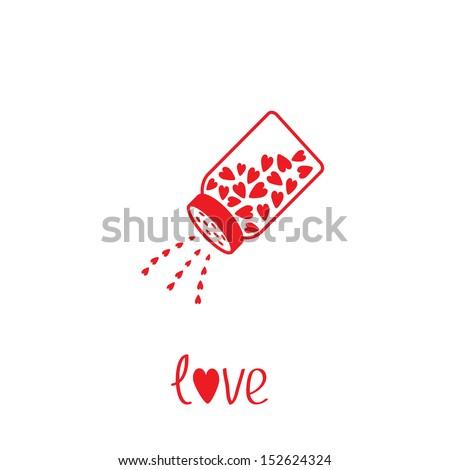Salt shaker with hearts inside. Card. Vector illustration. - stock vector