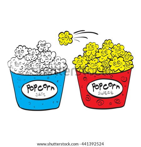 Salty popcorn and sweet popcorn