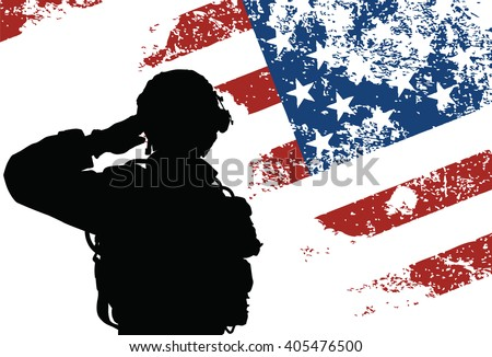 Saluting US soldier with the American Flag on the background - stock vector