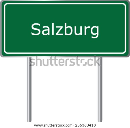 Salzburg, Austria, road sign green vector illustration, road table - stock vector
