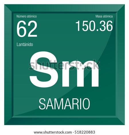 Samario Symbol Samarium Spanish Language Element Stock Vector
