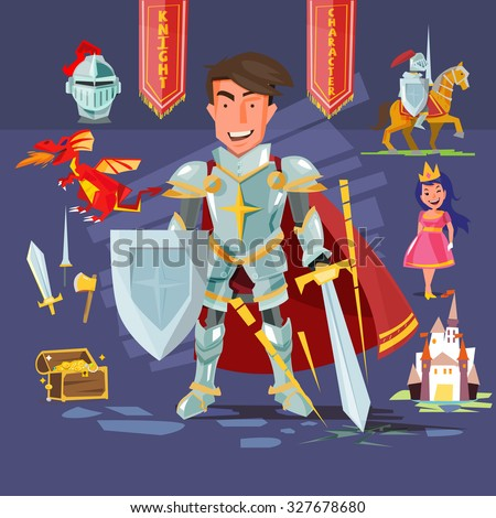 samart knight character with icon set. character design. mediaeval - vector illustration - stock vector