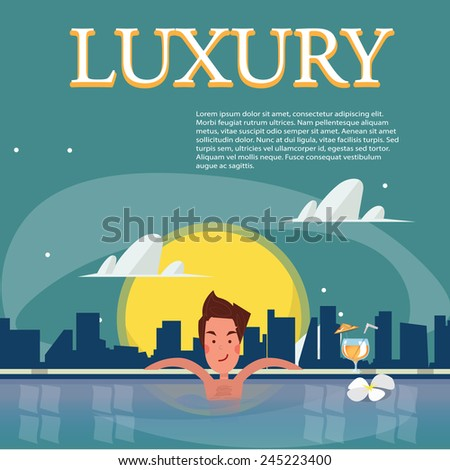 samart man relaxing in a swimming pool with a cocktail. sky pool with fullmoon city background. luxury concept - vector illustration - stock vector