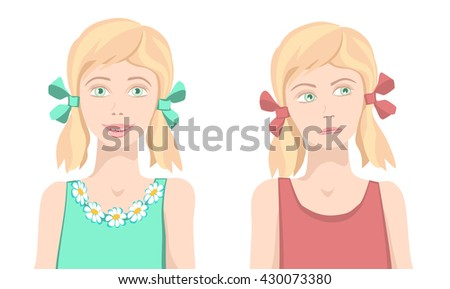 Same girl sad and happy.Same girl upset and funny face. Different facial expression. Joyful and sad girls. Isolated characters. Vector. - stock vector