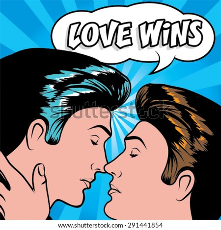 Same sex marriage. LOVE WINS vector illustration. Couple kissing. - stock vector