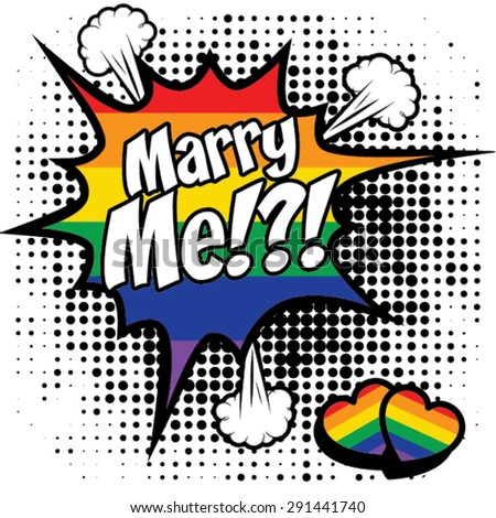 Same sex marriage. MARRY ME vector illustration.  - stock vector