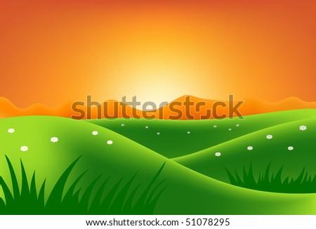 sammer landscape - stock vector