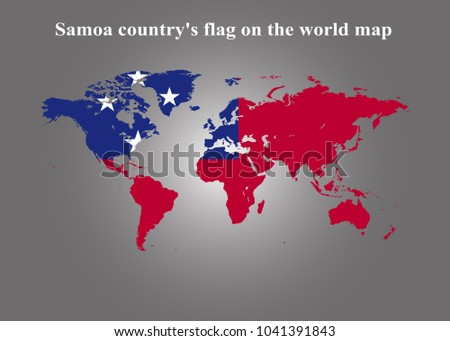 samoa countrys flag on the world map