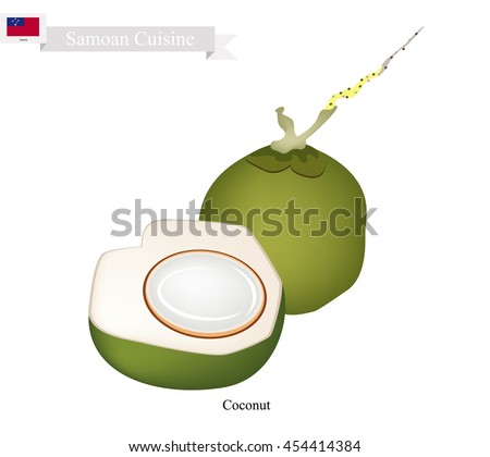 Samoa Fruit, Fresh Coconut. One of The Most Popular Fruits in Samoa.
