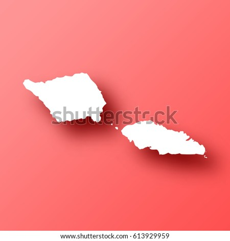 Samoa Map Isolated On Red Background Stock Vector - Samoa map vector
