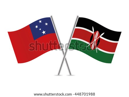Samoan and Kenyan flags. Vector illustration.