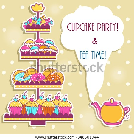 Sample cards with a tea party and sweets - stock vector