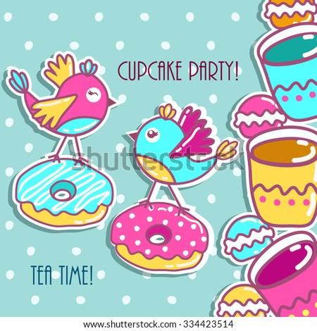 Sample cards with an bird, with cups and cakes - stock vector