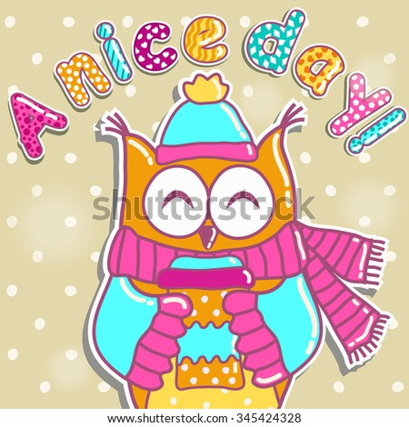 Sample cards with an owl, with cups  - stock vector