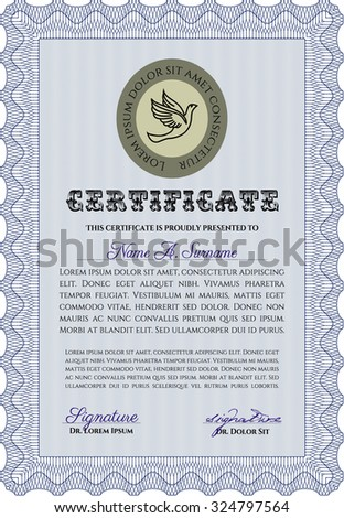 Sample Certificate. Money style. Easy to print. Artistry design.