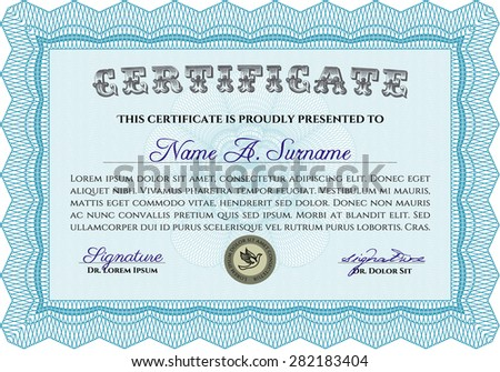 Sample certificate or diploma. Detailed.Nice design. With background.