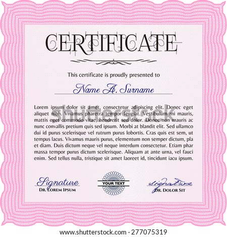 Sample Certificate Diploma Frame Certificate Template Stock Photo
