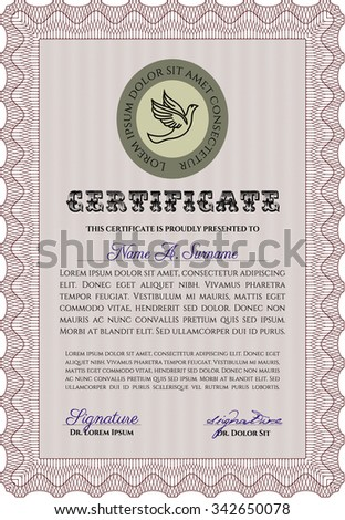Sample certificate or diploma. Vector pattern that is used in money and certificate.Excellent design. With quality background.
