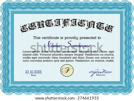 Sample Certificate. Printer friendly. Modern design. Vector pattern that is used in currency and diplomas.
