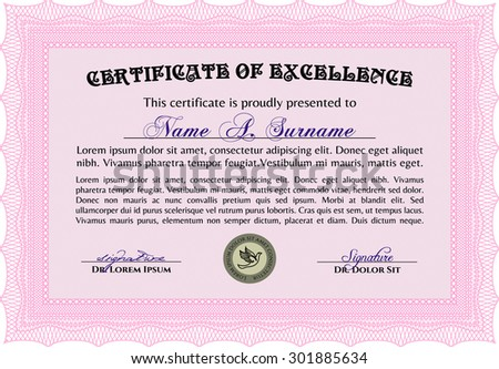 Sample Diploma Frame Certificate Template Vector Stock Vector