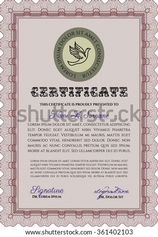Sample Certificate. With linear background. Sophisticated design. Vector pattern that is used in currency and diplomas.