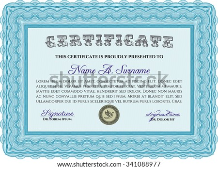 Sample Diploma. Cordial design. With background. Frame certificate template Vector.