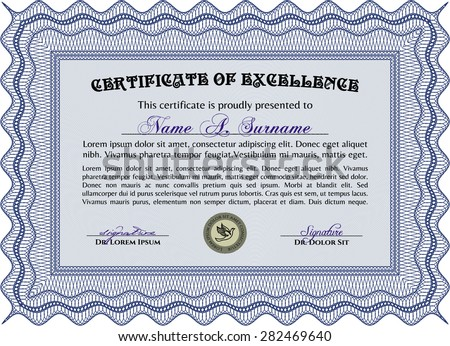Sample Diploma. Printer friendly. Money style.Excellent design.
