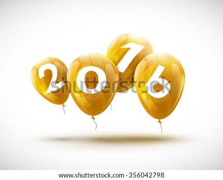 Sample greeting card 2016 Christmas card with realistic yellow balloons and numbers. Image Printer, stocks, greetings, e-mail, Web. Vector illustration - stock vector