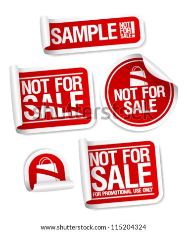 Sample not for sale stickers for free products. - stock vector
