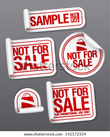 Sample not for sale stickers for free products.